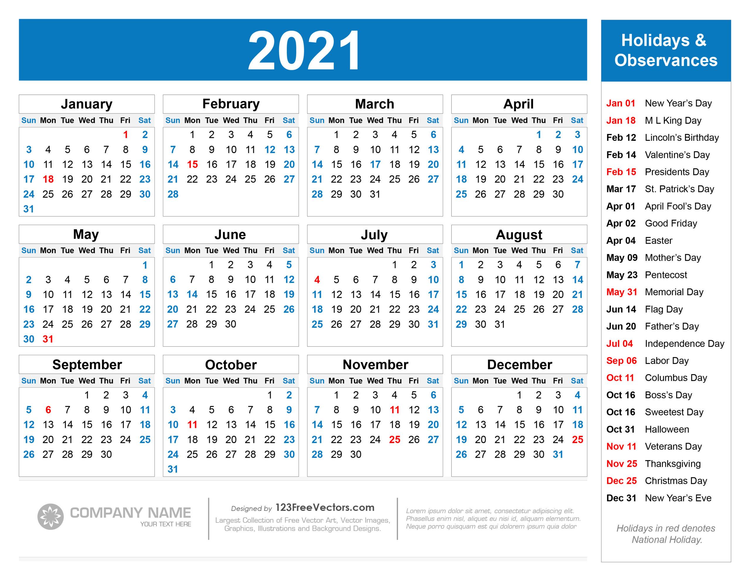 2021 Calendar Holidays And Observances   Printable Calendars 2021 with 2021 Calendar Free Printable