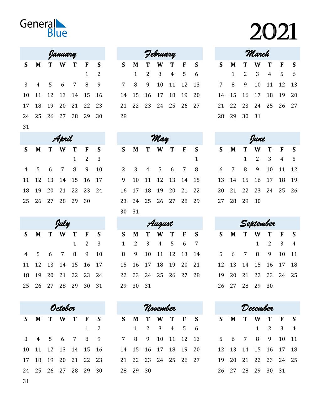 2021 Calendar (Pdf, Word, Excel) throughout 2021 Excel Printable Calendars