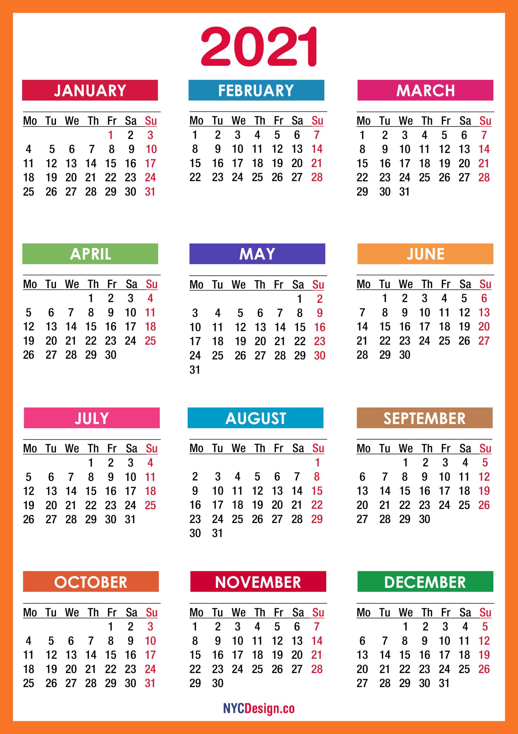 2021 Calendar Printable Free, Pdf, Colorful, Red, Orange pertaining to Desktop Calendars 2021 Free Printable