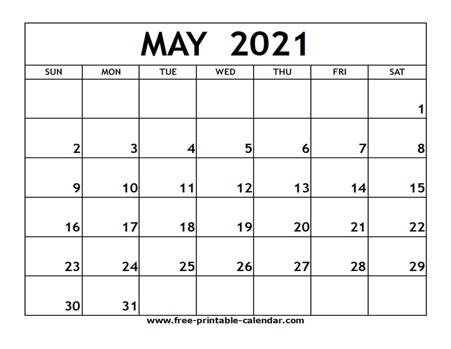 2021 Calendar Printable Pdf May | Free Printable Calendar intended for 2021 Word Calendar Wincalendar