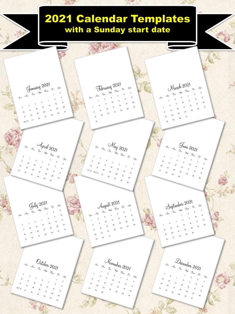 2021 Calendar Templates With A Sunday Start 8X11 | Etsy for 8X11 Calendar Printable