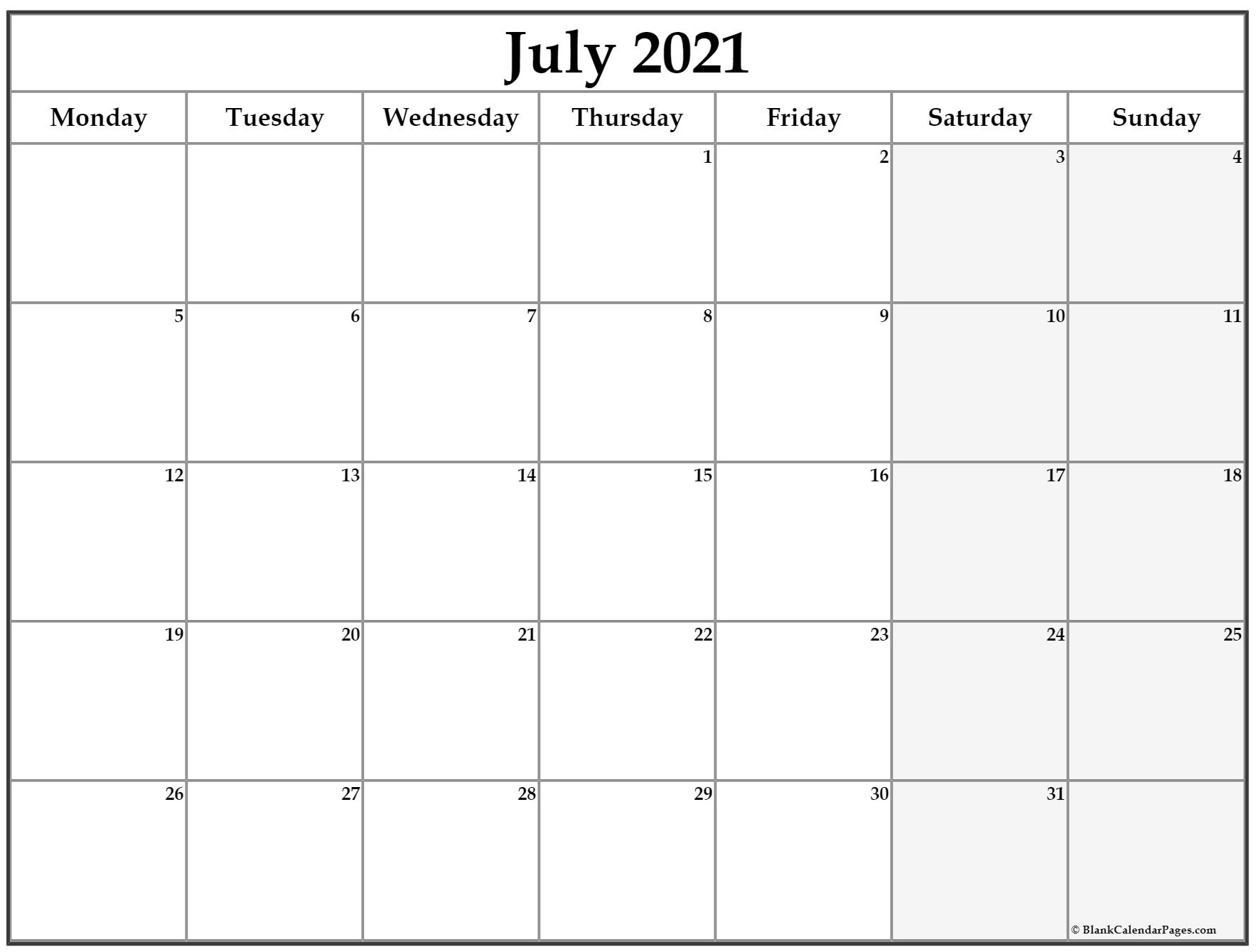 2021 Calendar That Shows Only Monday Through Friday within Calendar Monday To Sunday