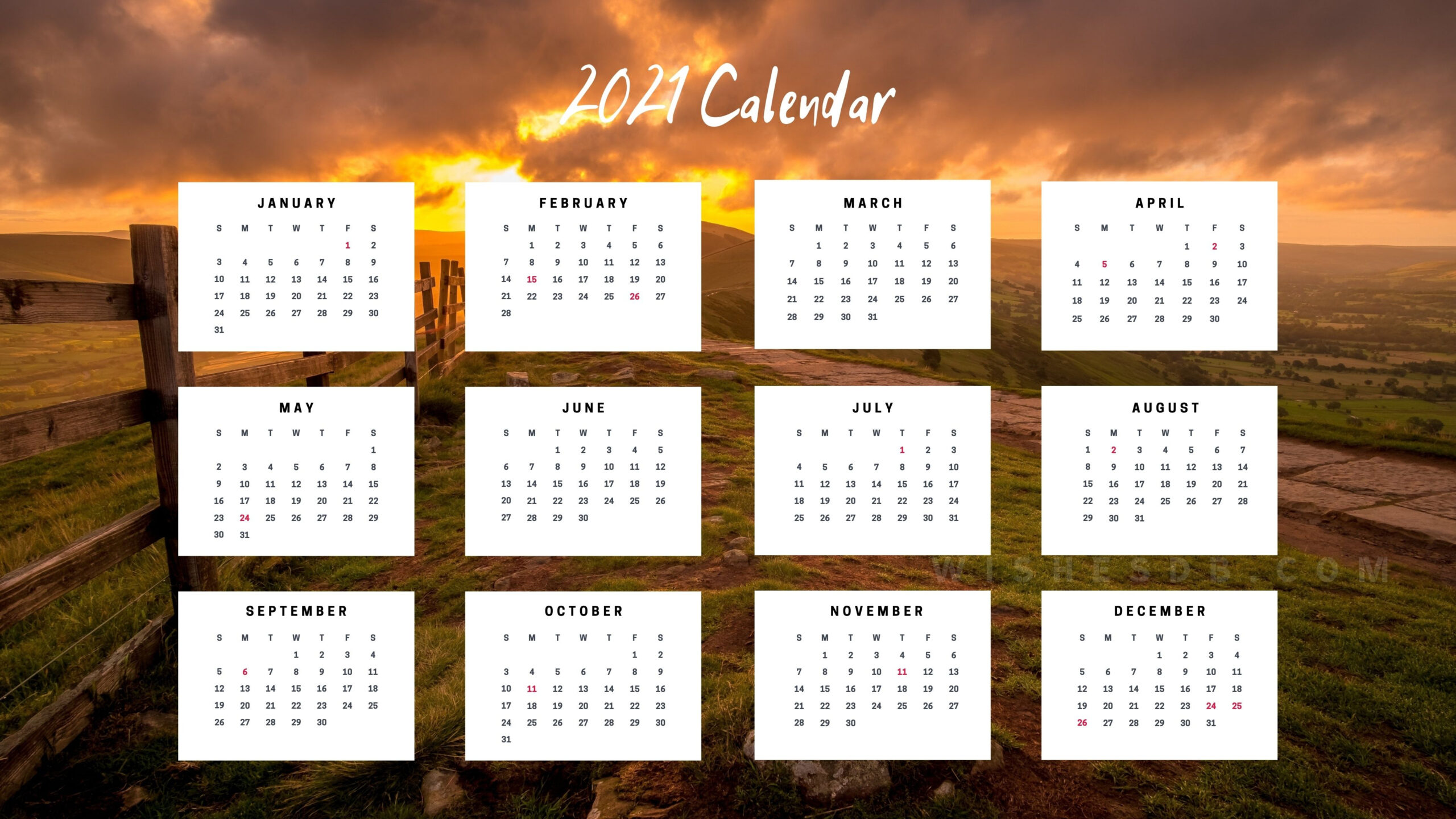 2021 Calendar  Wishes Db in Desktop Calendars 2021 Free Printable