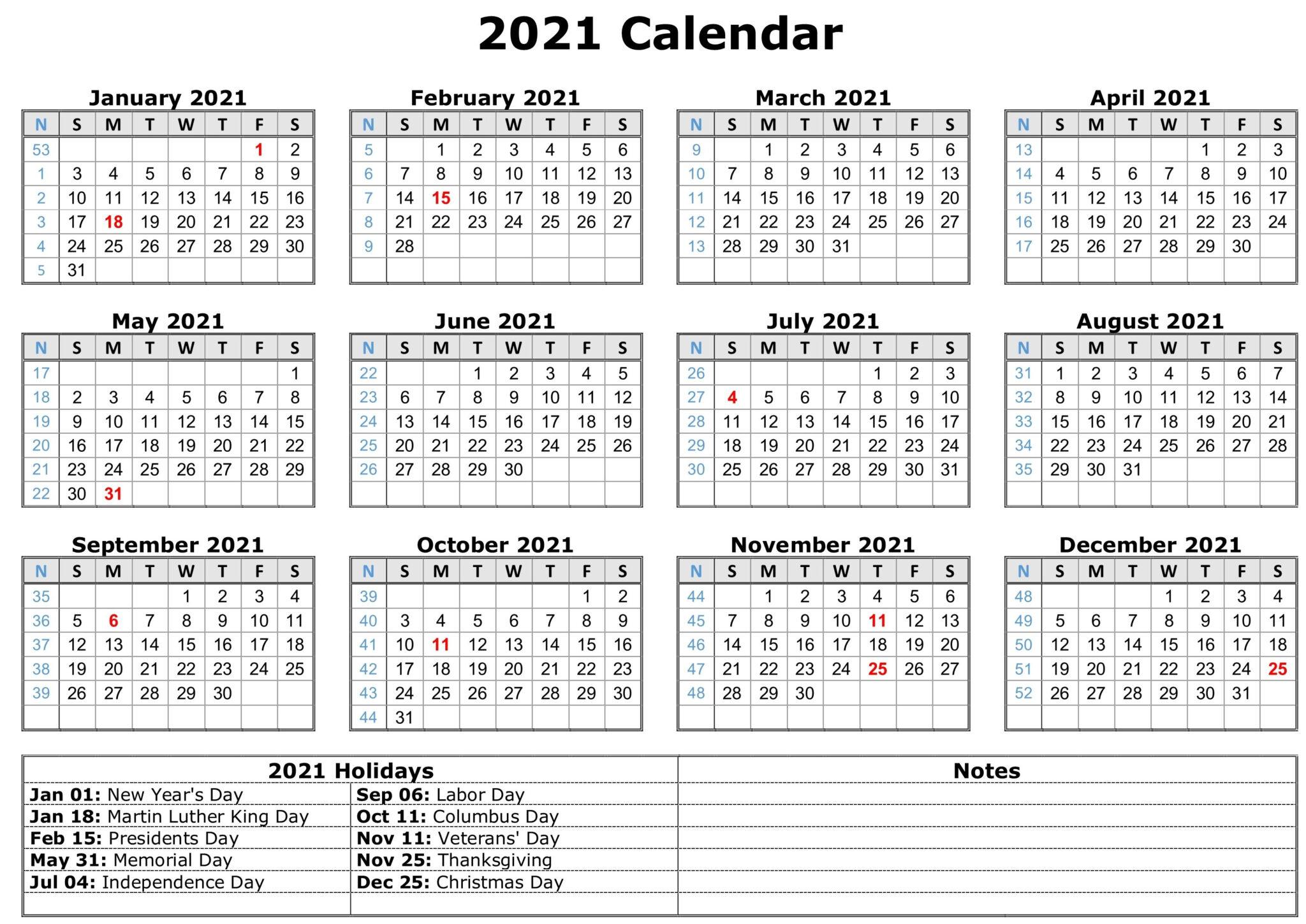2021 Calendar With Holidays   Free Calendar Template with regard to Depo Calendar For 2021