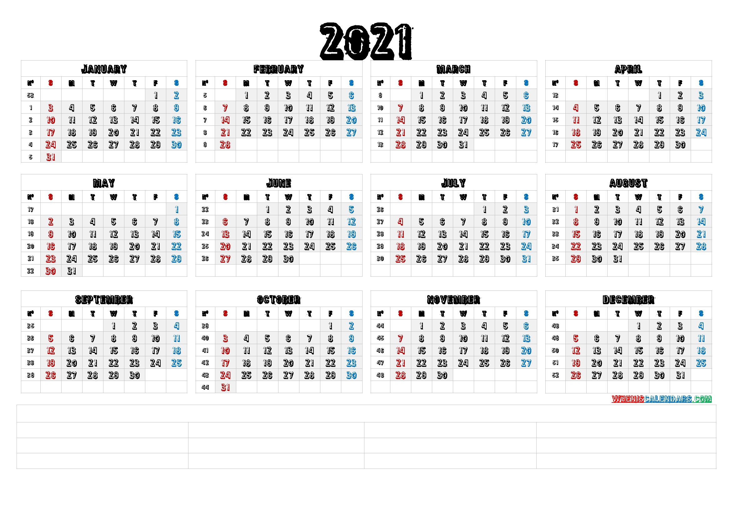 2021 Calendar With Week Numbers Printable (6 Templates)  Free Printable 2020 Monthly Calendar in 2021 Calendar Free Printable
