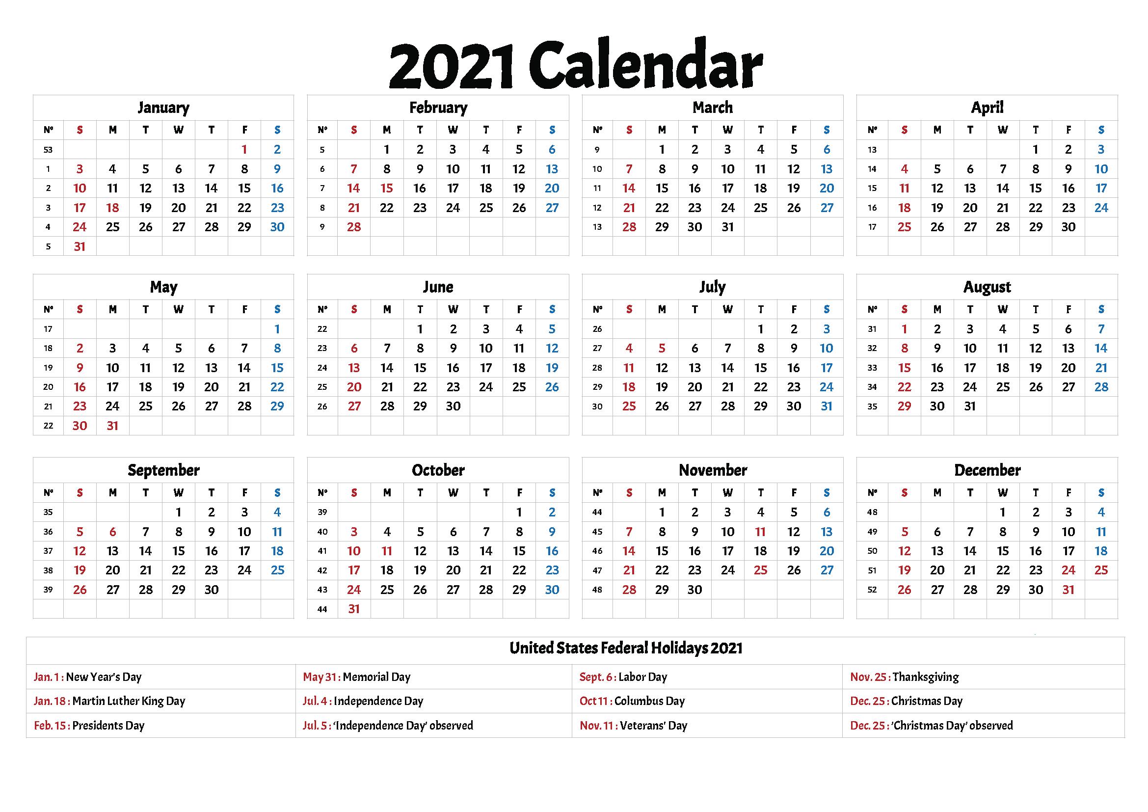 2021 Calendars With Holidays Printable  Printable Calendar for 2021 Calendar Free Printable