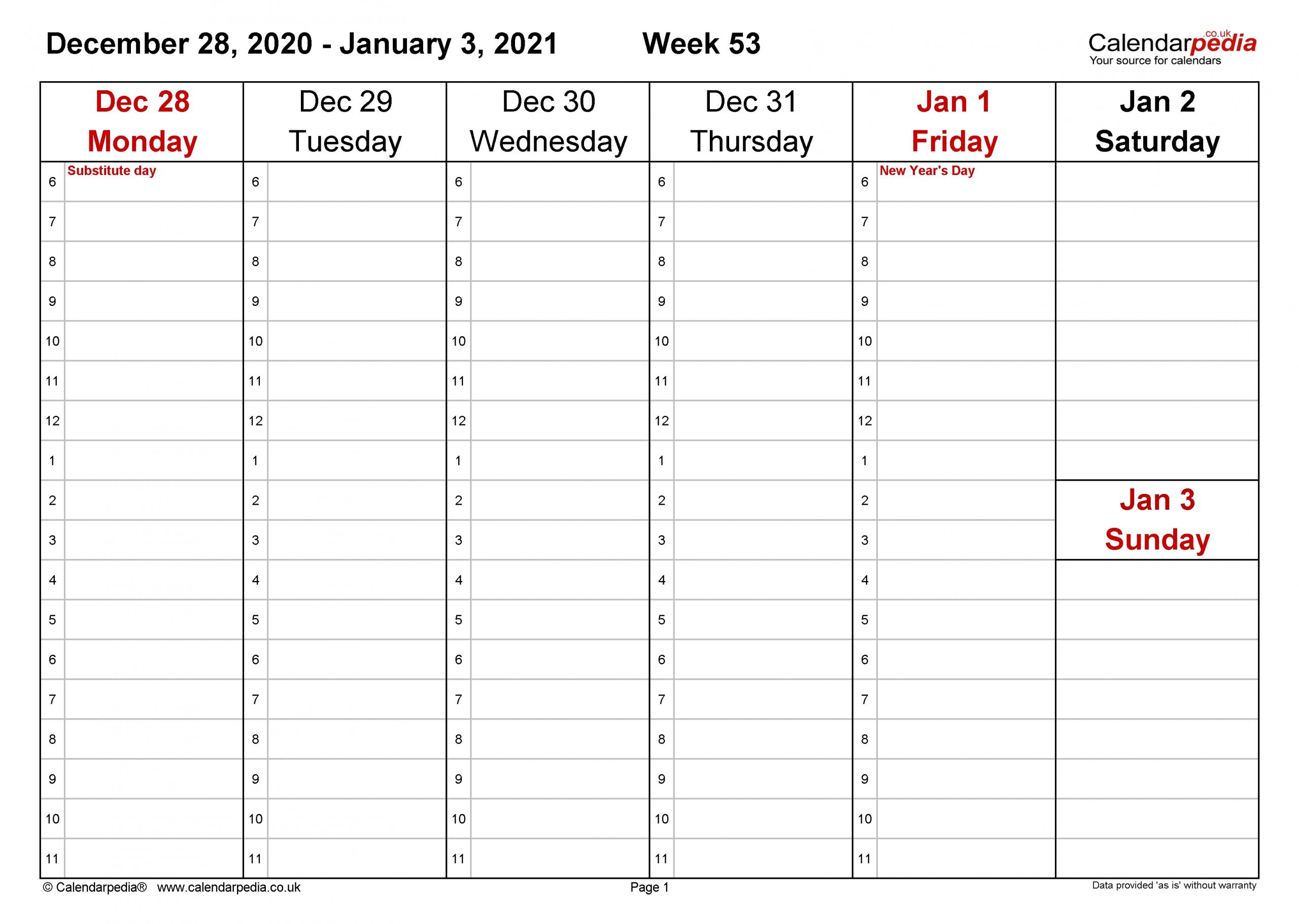 2021 Calnder By Week No Excel | Calendar Template Printable for 2021 Excel Printable Calendars