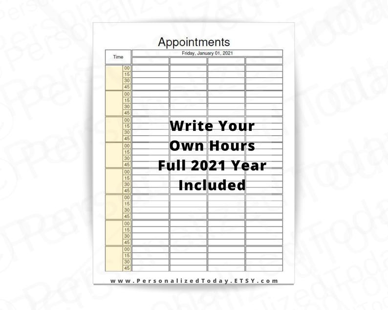 2021 Dated Daily 8 Hourly 15 Minute Time Slot Appointment intended for Daily Calendar With 15 Minute Time Slots