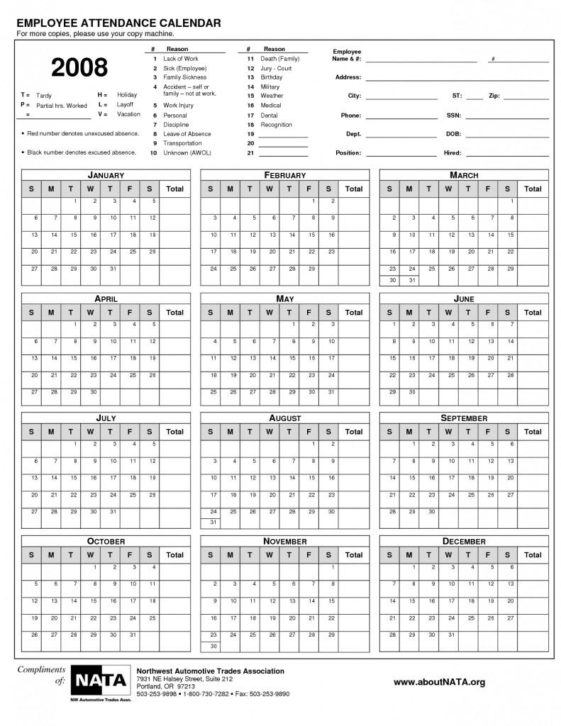 2021 Employee Absentee Calendar Printable  Calendar in Sick Day Calendar For Employees 2021