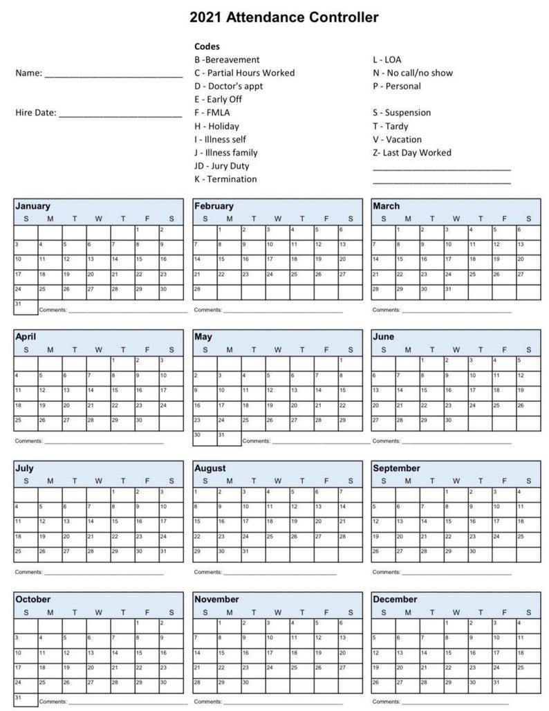 2021 Employee School Attendance Tracker Calendar Employee for Sick Day Calendar For Employees 2021