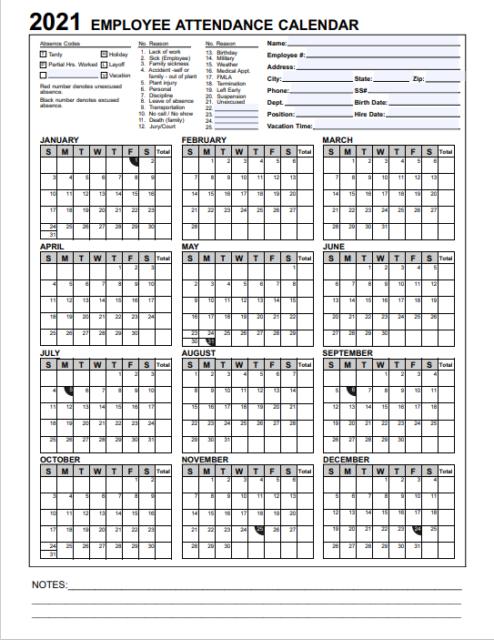 2021 Employee & Staff Attendance Record Calendar: Choose regarding Sick Day Calendar For Employees 2021