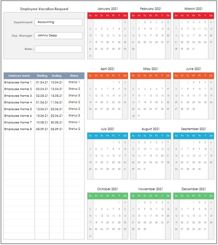 2021 Employee Vacation Request Excel Template   Etsy pertaining to Sick Day Calendar For Employees 2021
