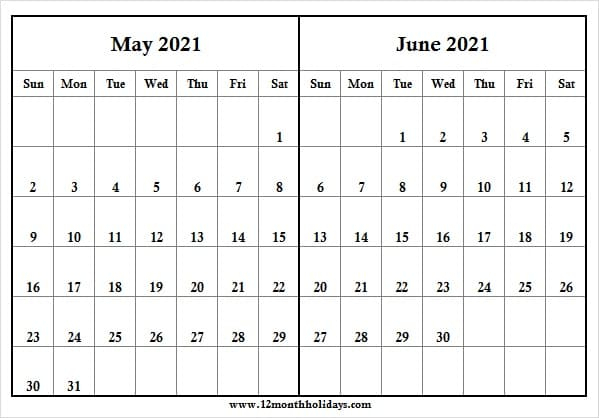 2021 May And June Calendar   Printable Calendar 2021 for June 2021 Printable Monthly Calendar With Lines