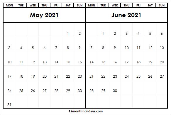 2021 May June Calendar   2021 Calendar Editable throughout June 2021 Printable Monthly Calendar With Lines
