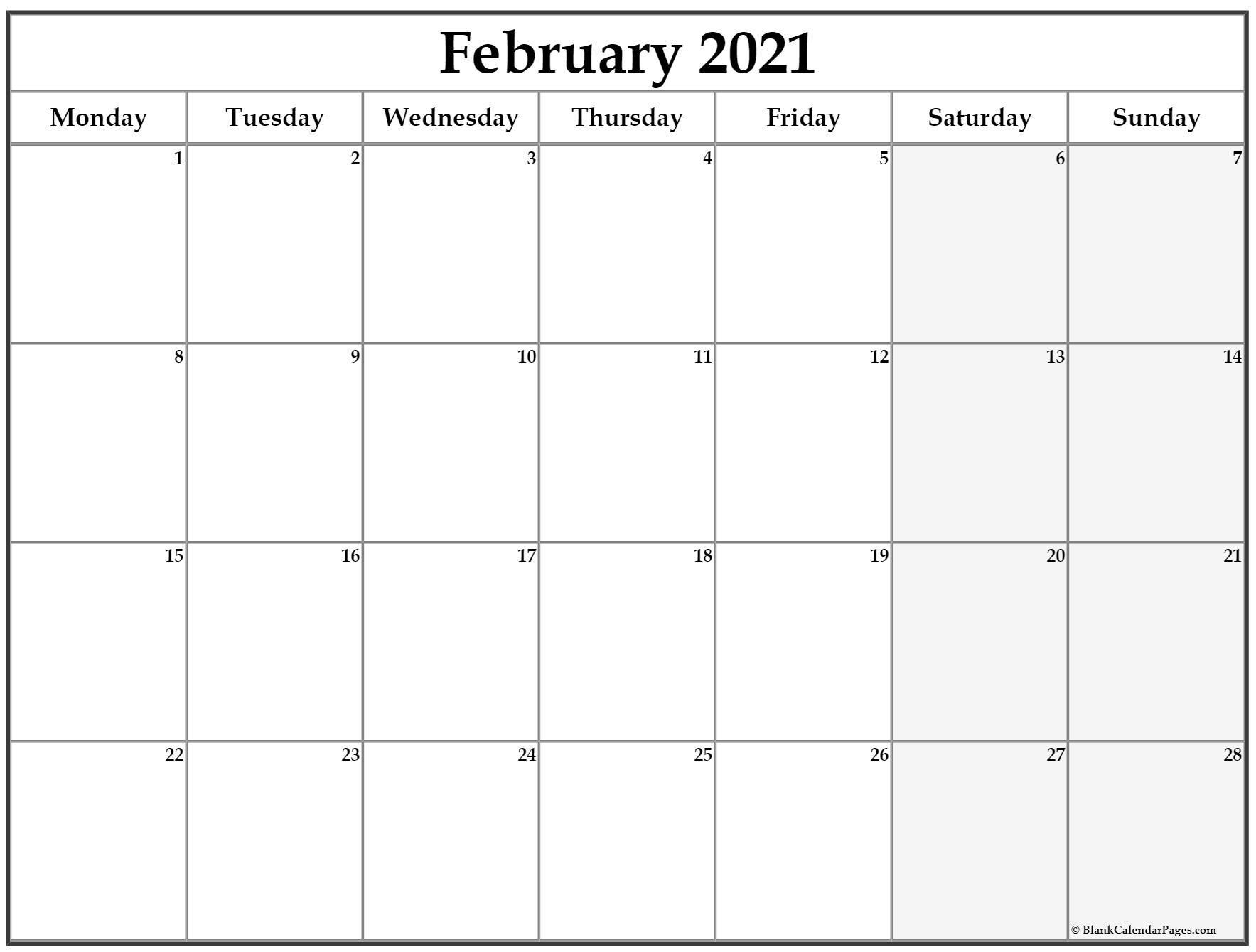 2021 Monthly Calendar Excel | Printablecalendarsfor2021 regarding 2021 Calendar Excel Start Monday