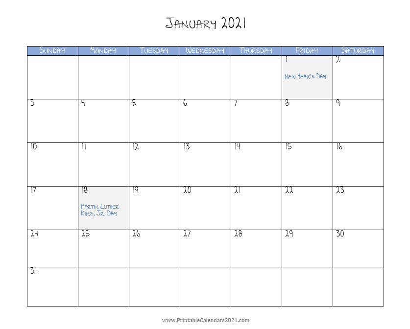 2021 Monthly Calendar Printable Word  2021 Calendar (Pdf for Monthly Calendars Free Ruled 2021