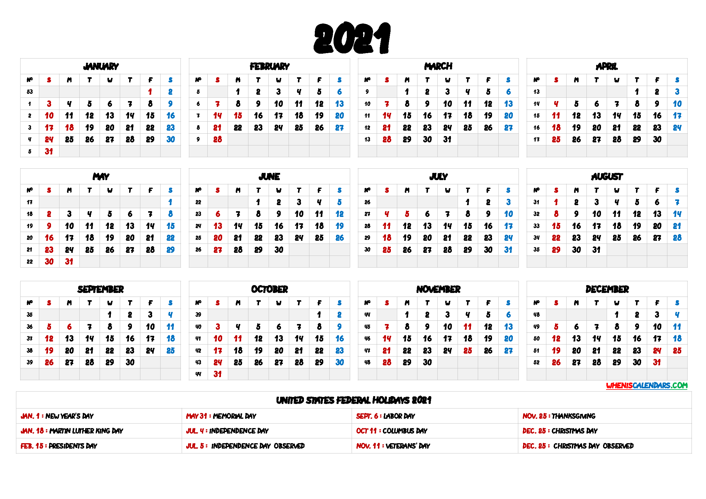 2021 One Page Calendar Printable  9 Templates with Free 3 Month Calendar One Page 2021