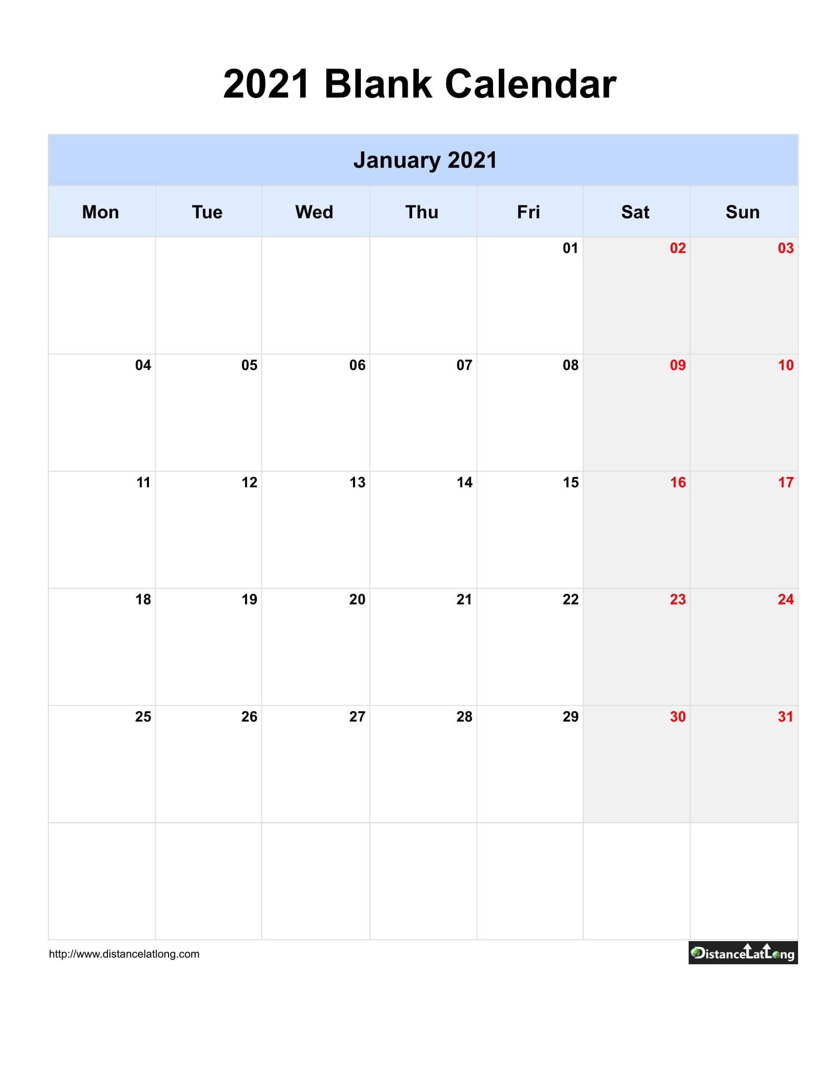 2021 Printable Calendar Monthly Portrait | 2021 Printable within Blank Monthly Calendar 2021