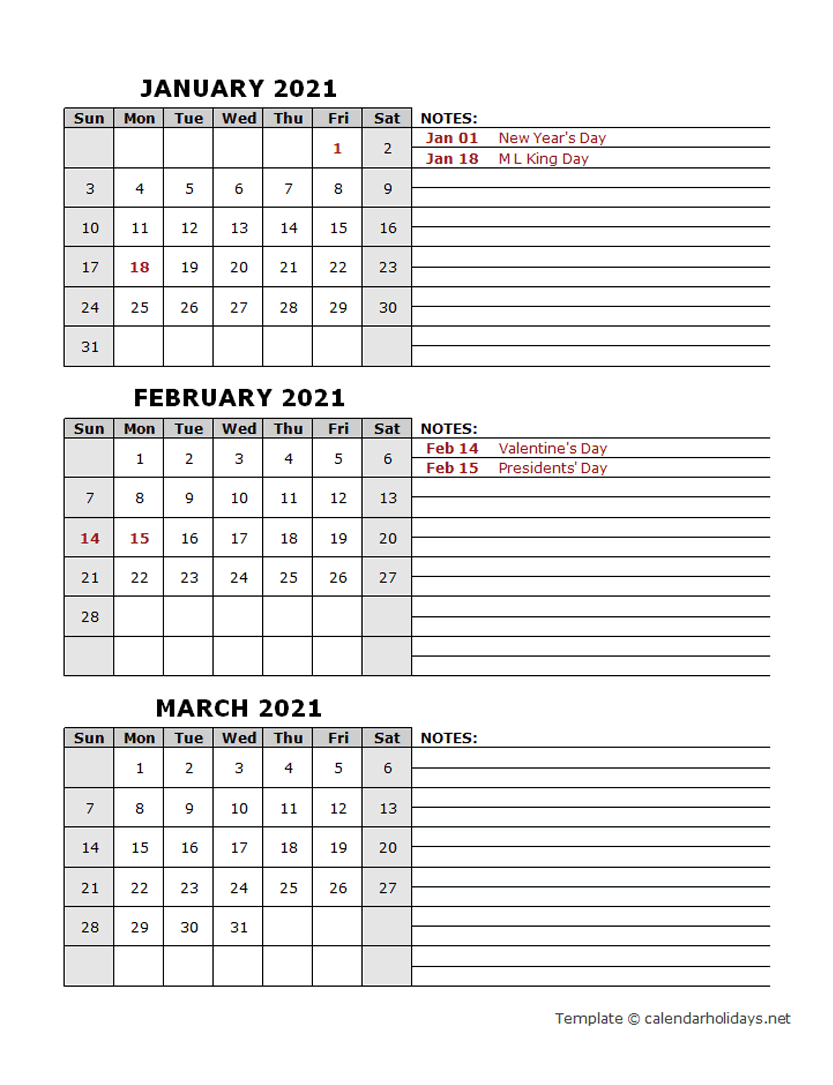 2021 Quarterly Template  Calendarholidays intended for Printable Calendar With Three Months