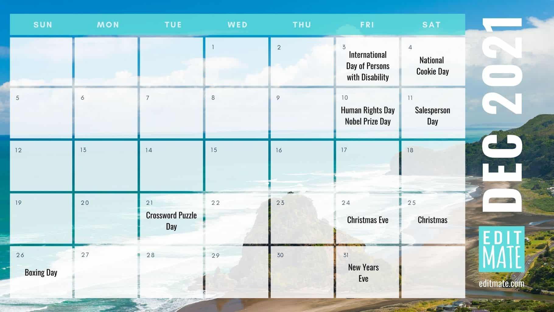 2021 Social Media Holiday Calendar   Editmate regarding December Calendar 2021 Empire And Puzzles