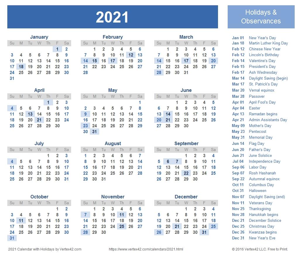 2021 Vacation Schedule   Calendar Template Printable pertaining to 2021 Pto Calendar Template Excel