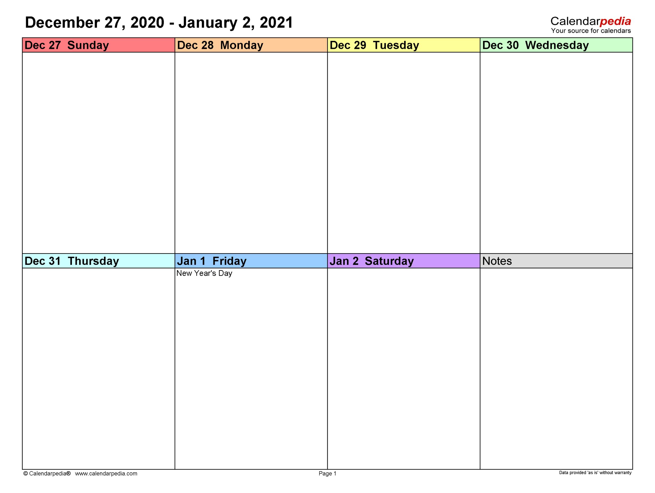 2021 Weekly Planner Excel with regard to Two Week Calendar Printable
