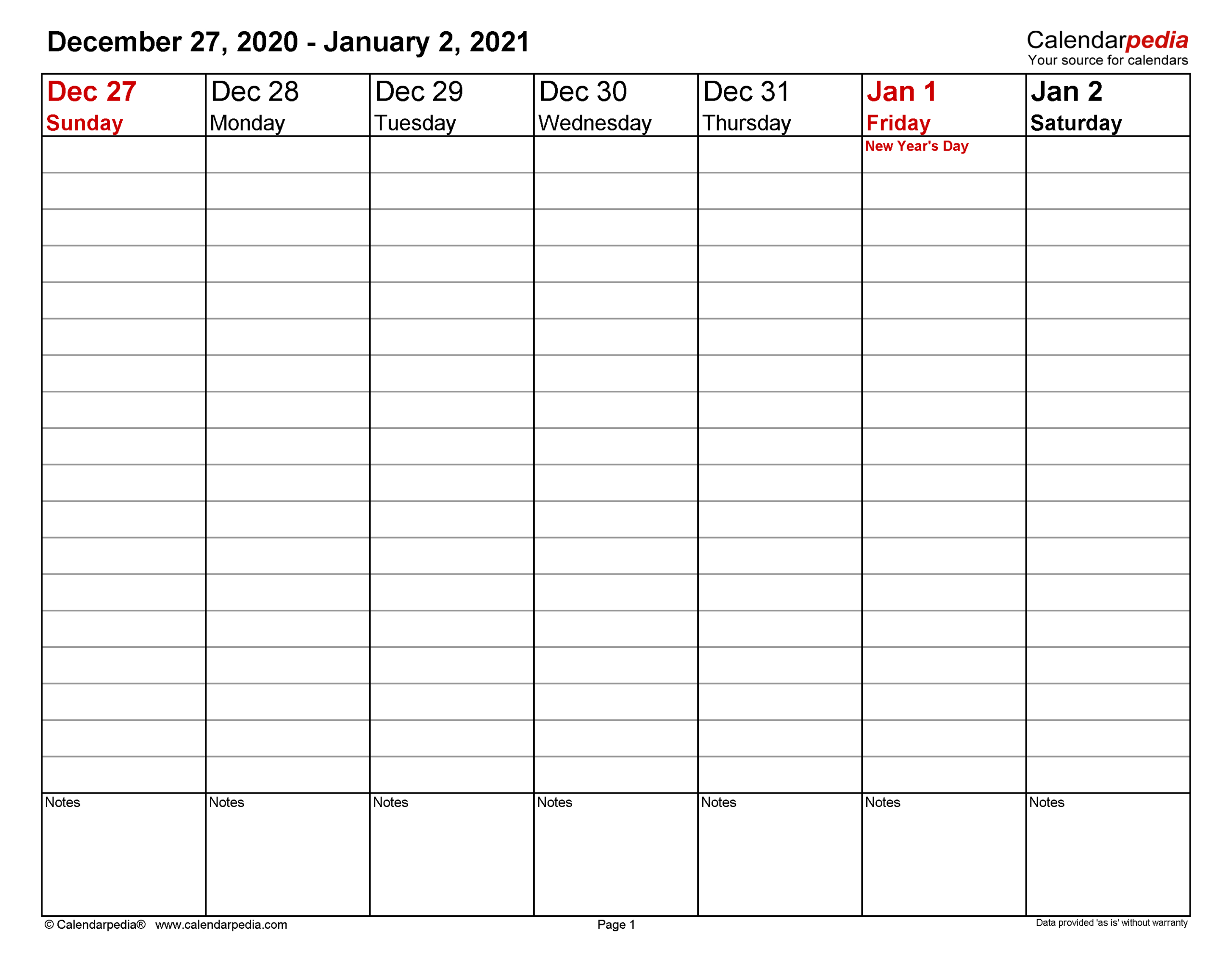 2021 Weekly Planner Printable within Free Printable Calendars 2021 With Lines