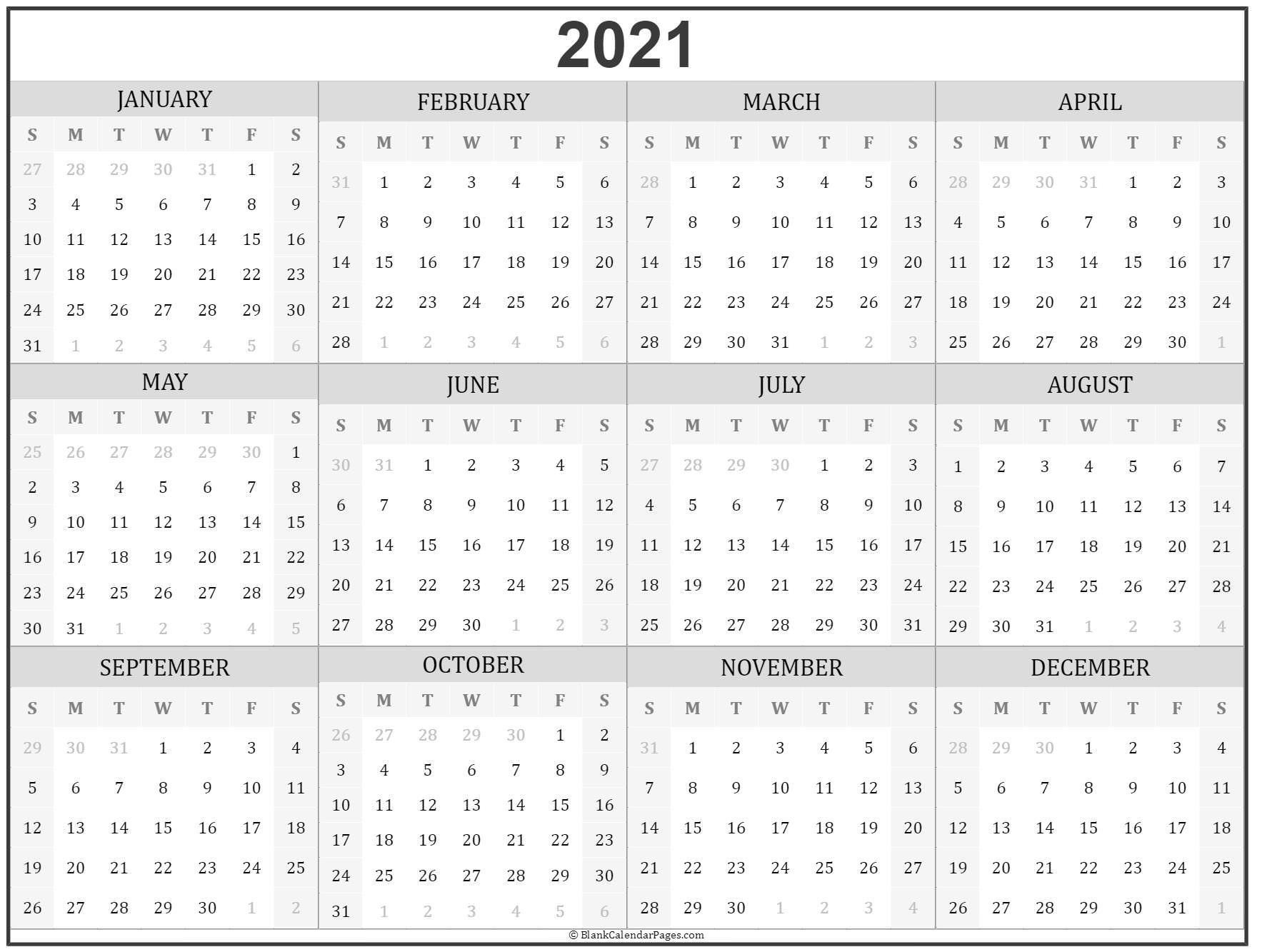 2021 Year Calendar | Yearly Printable inside Free Printable Calendar With Lines On Days 2021