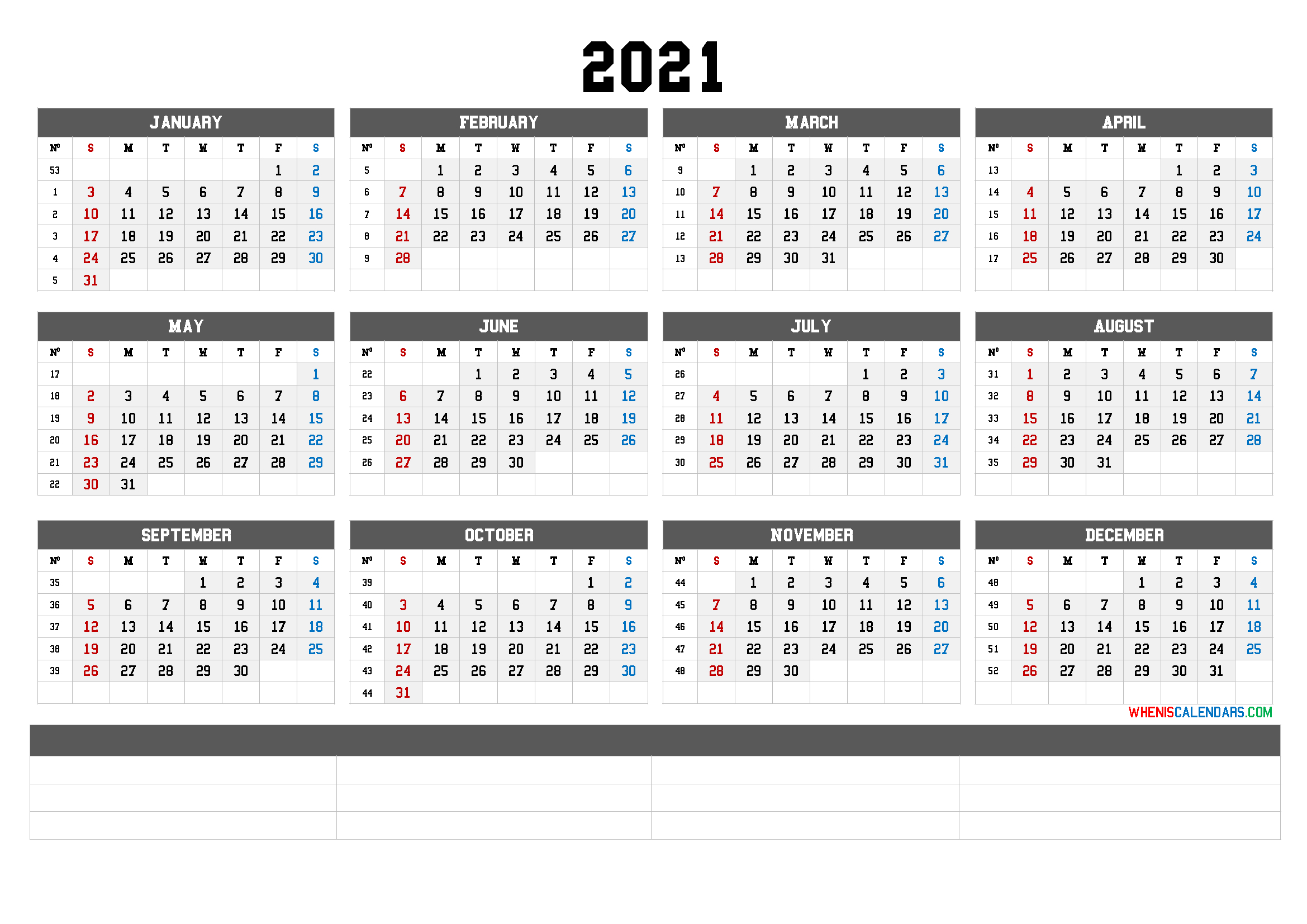 2021 Yearly Calendar Template Word (6 Templates) for Three Month Printable Calendar 2021