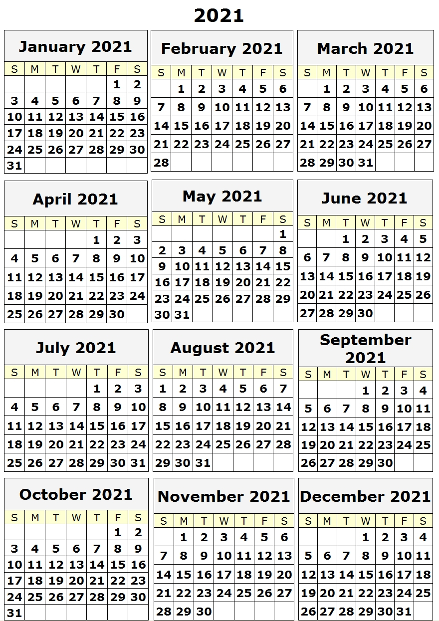 2021 Yearly Printable Calendar One Page, 12 Month Calendar for Free 3 Month Calendar One Page 2021