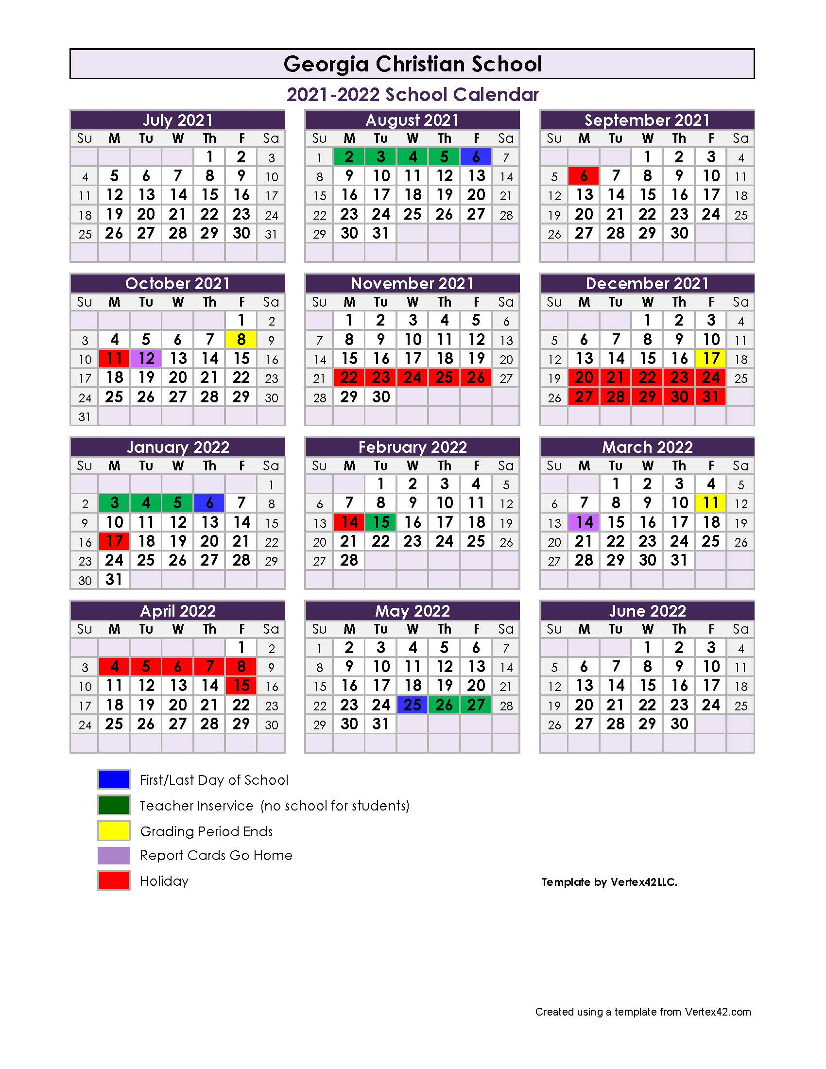 202122 School Calendar  Georgia Christian School pertaining to Uga School Calendar