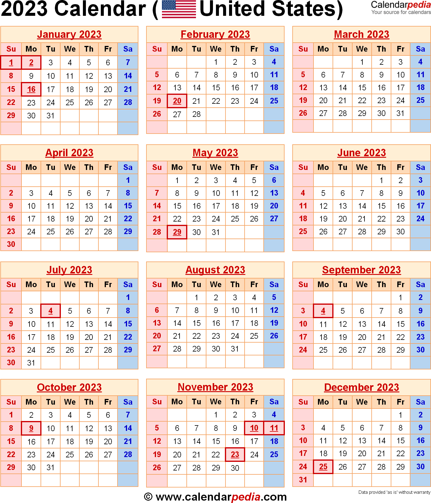 2023 Calendar With Federal Holidays intended for Federal Holidays 2025