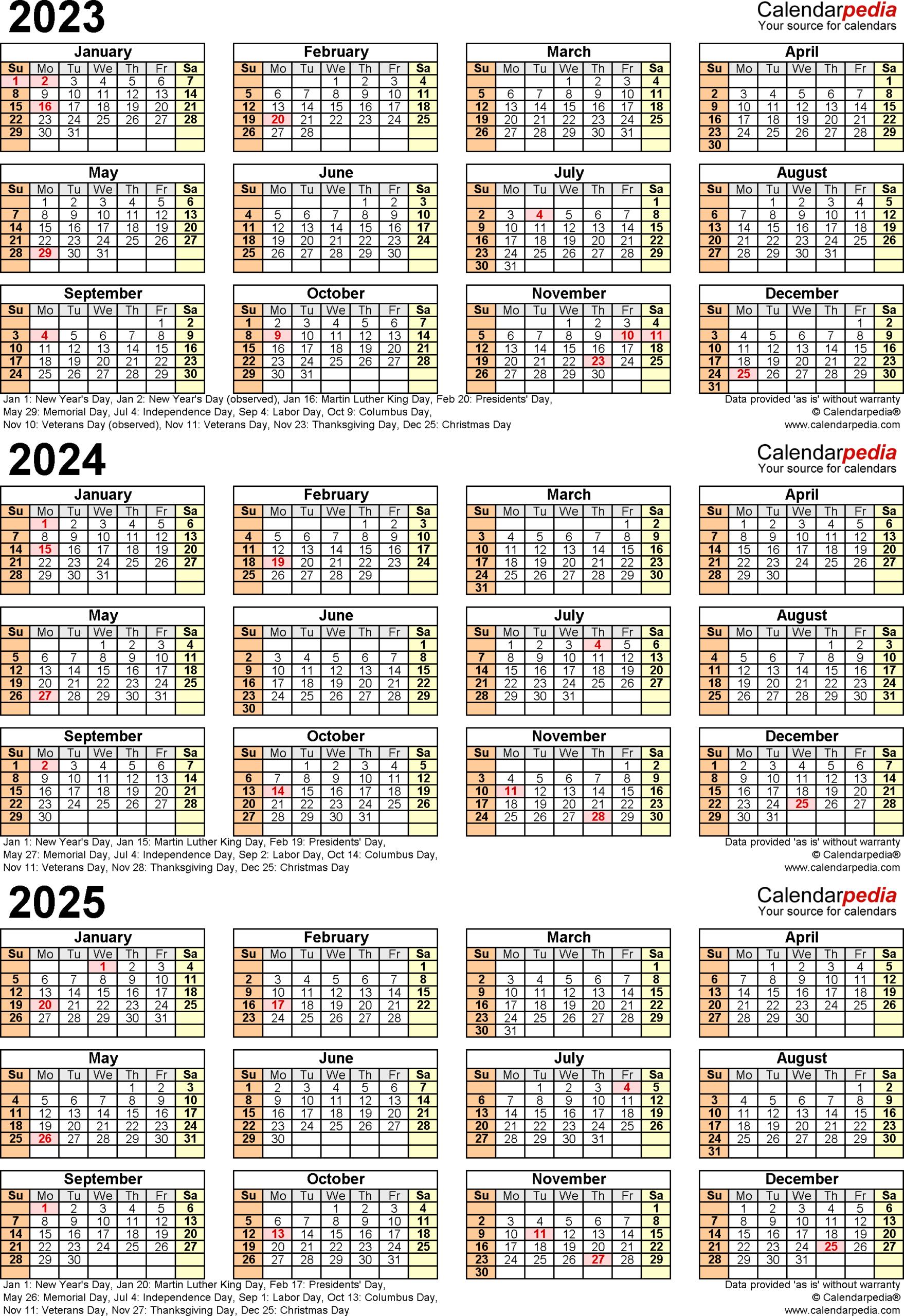 20232025 Three Year Calendar  Free Printable Pdf Templates with Federal Holidays 2025