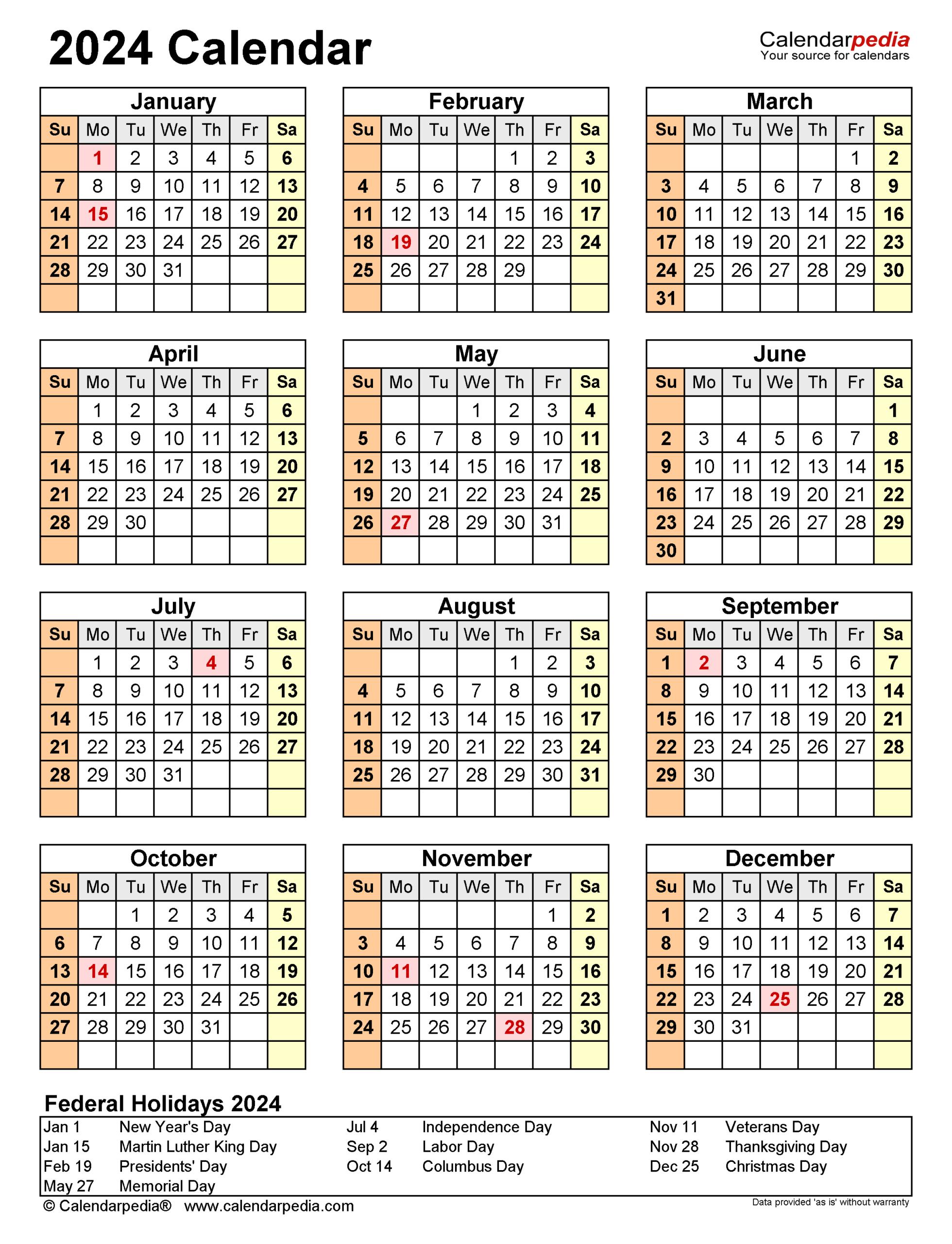2024 Calendar  Free Printable Pdf Templates  Calendarpedia with regard to Federal Holidays 2025