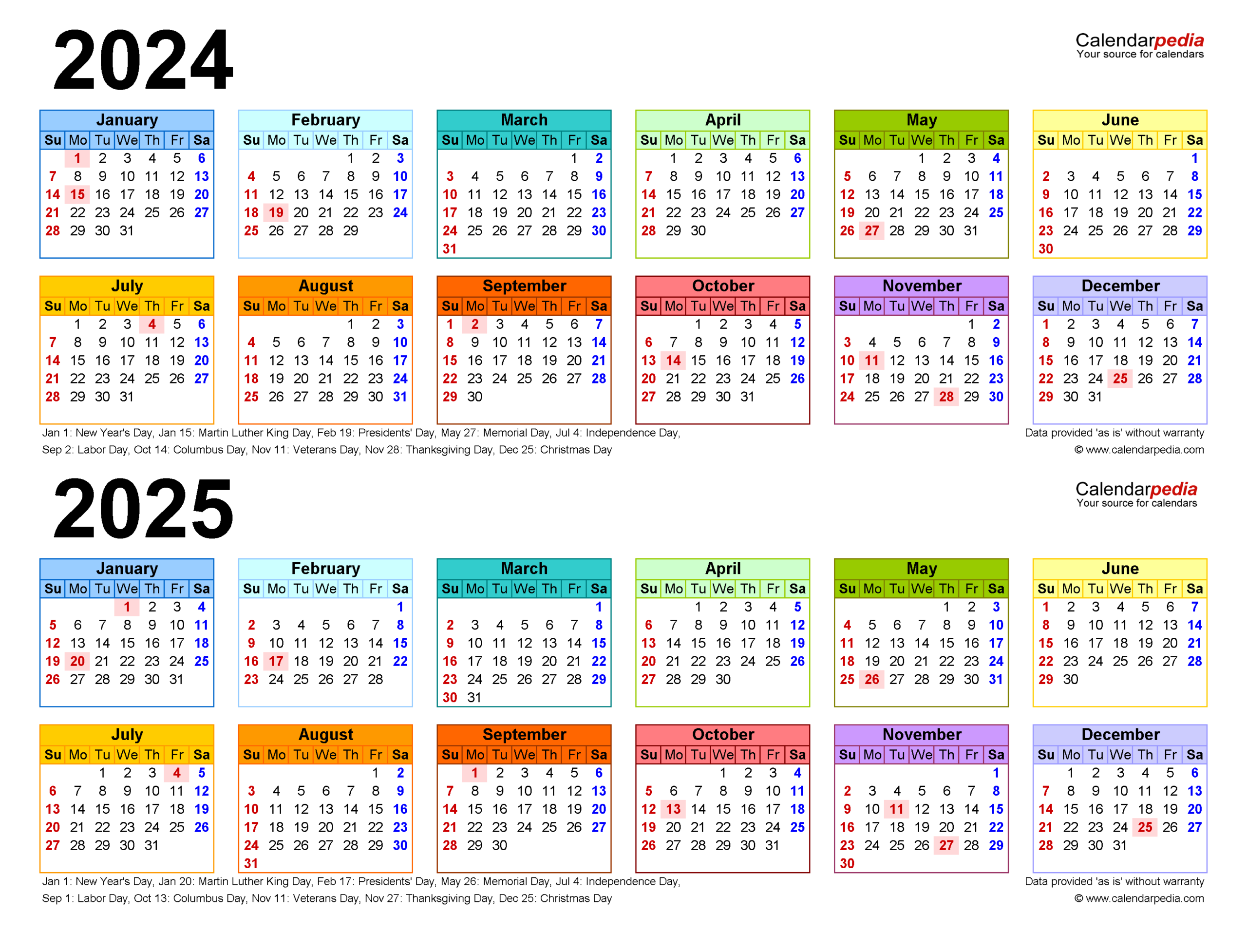 20242025 Two Year Calendar  Free Printable Excel Templates for Federal Holidays 2025