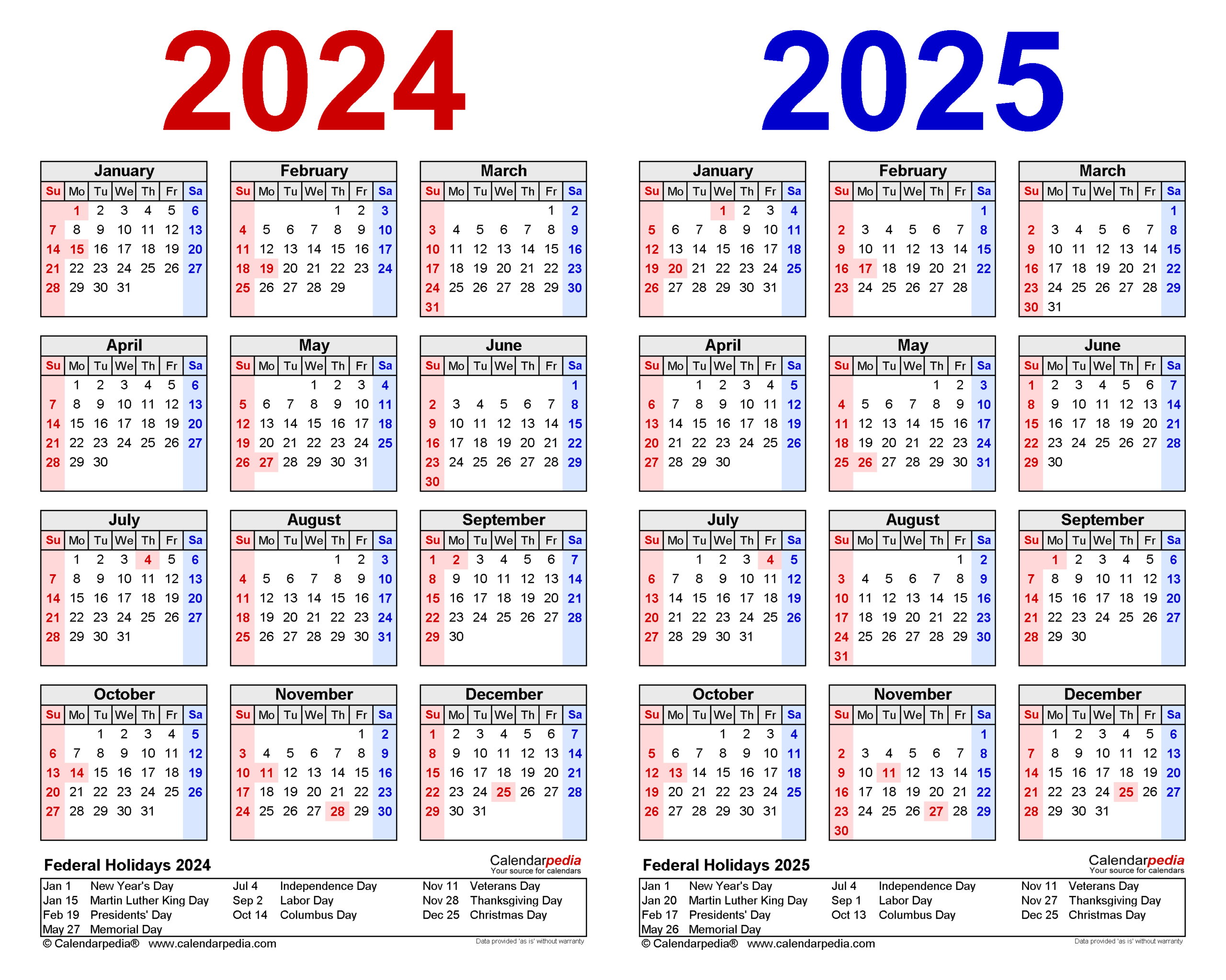 20242025 Two Year Calendar  Free Printable Pdf Templates with Federal Holidays 2025
