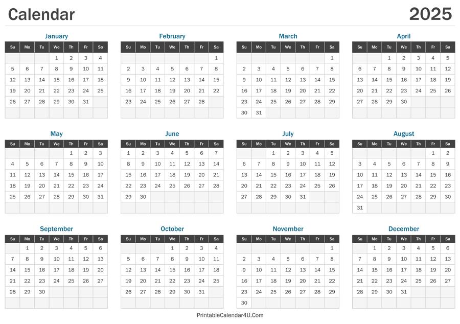 2025 Calendar Printable with Federal Holidays 2025
