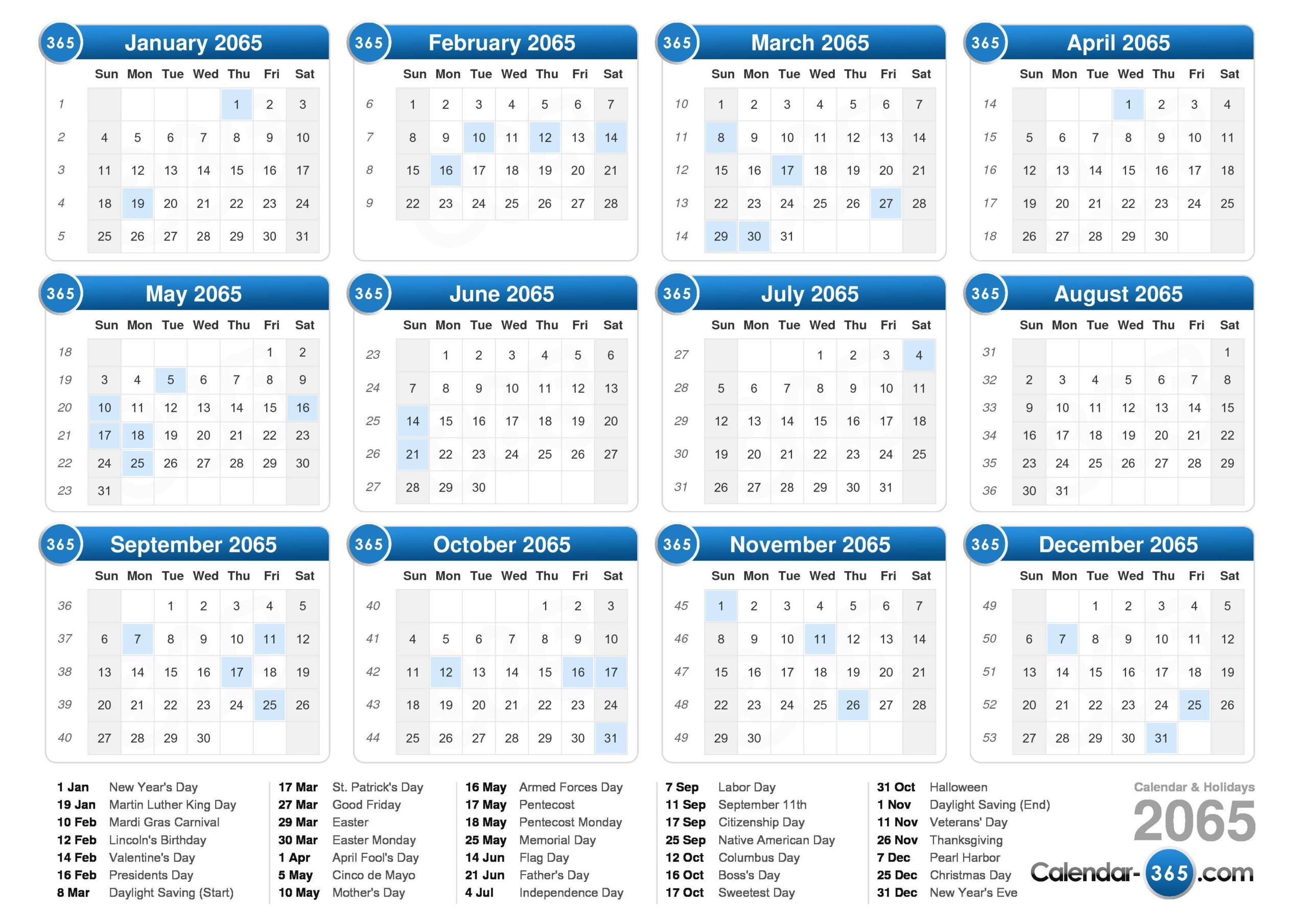 2065 Calendar for Federal Holidays 2025
