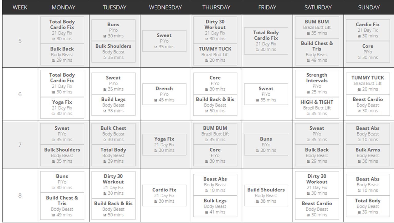 21 Day Fix Beachbody Calendar 2015  Festival Calendar with Piyo 21 Day Fix Hybrid