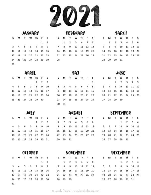 24 Pretty (& Free) Printable One Page Calendars For 2021 inside Free 3 Month Calendar One Page 2021