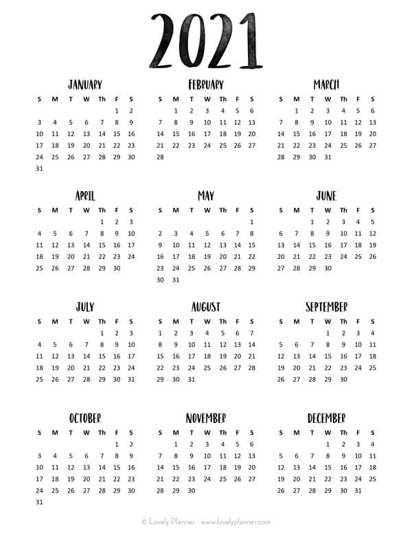 24 Pretty (& Free) Printable One Page Calendars For 2021 intended for Free 3 Month Calendar One Page 2021