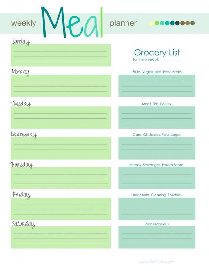 25Daysgroup 12114: Meal Planning Suggestion 1 Of 2 in 12 Week Planner Template