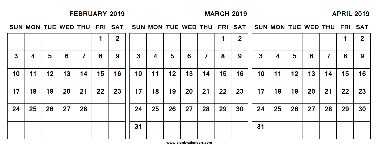 3 Month Calendar 2019 February March April (With Images with Blank 3 Month Calendar
