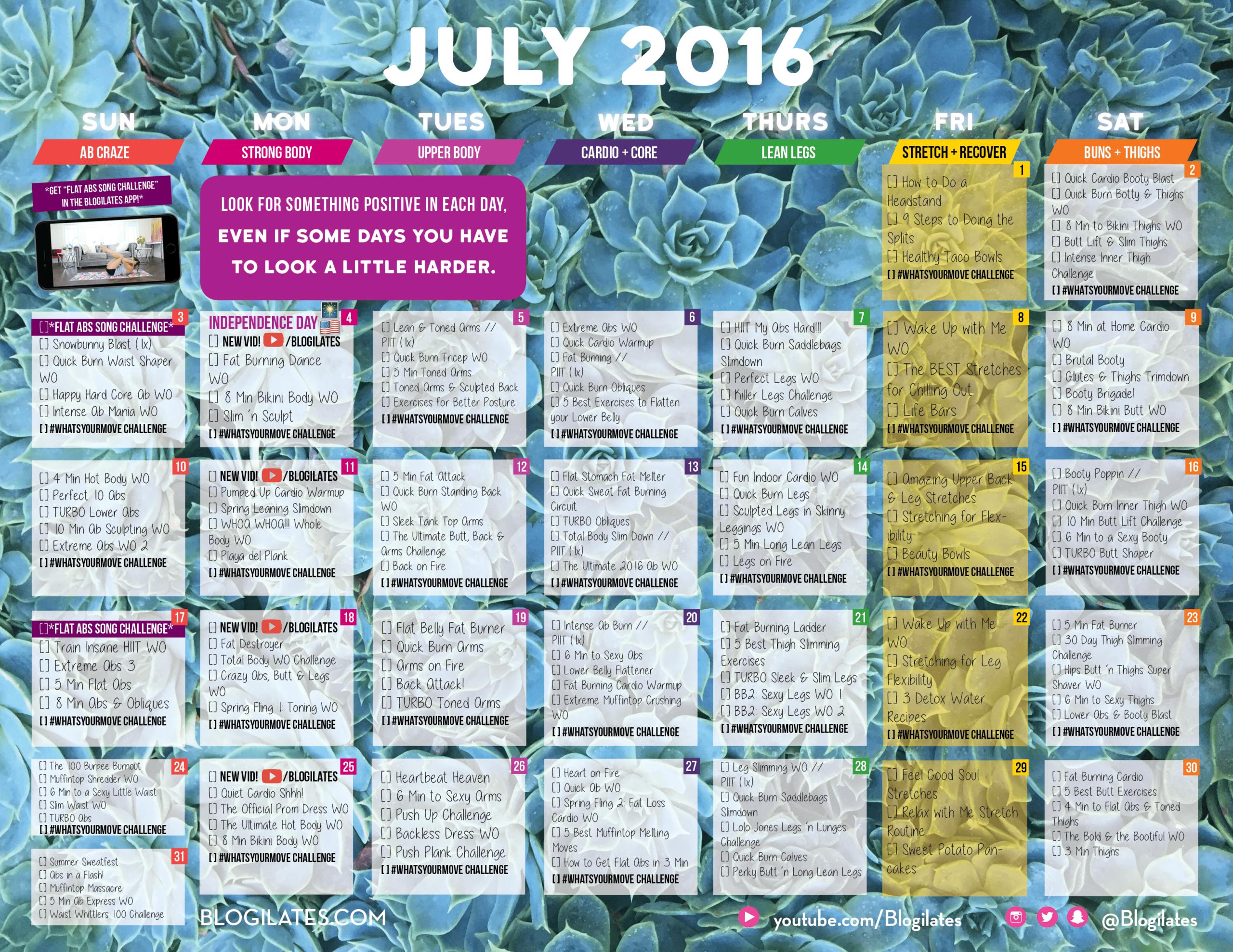 30 Day Challenge Archives  Blogilates in Blogilates September Calendar