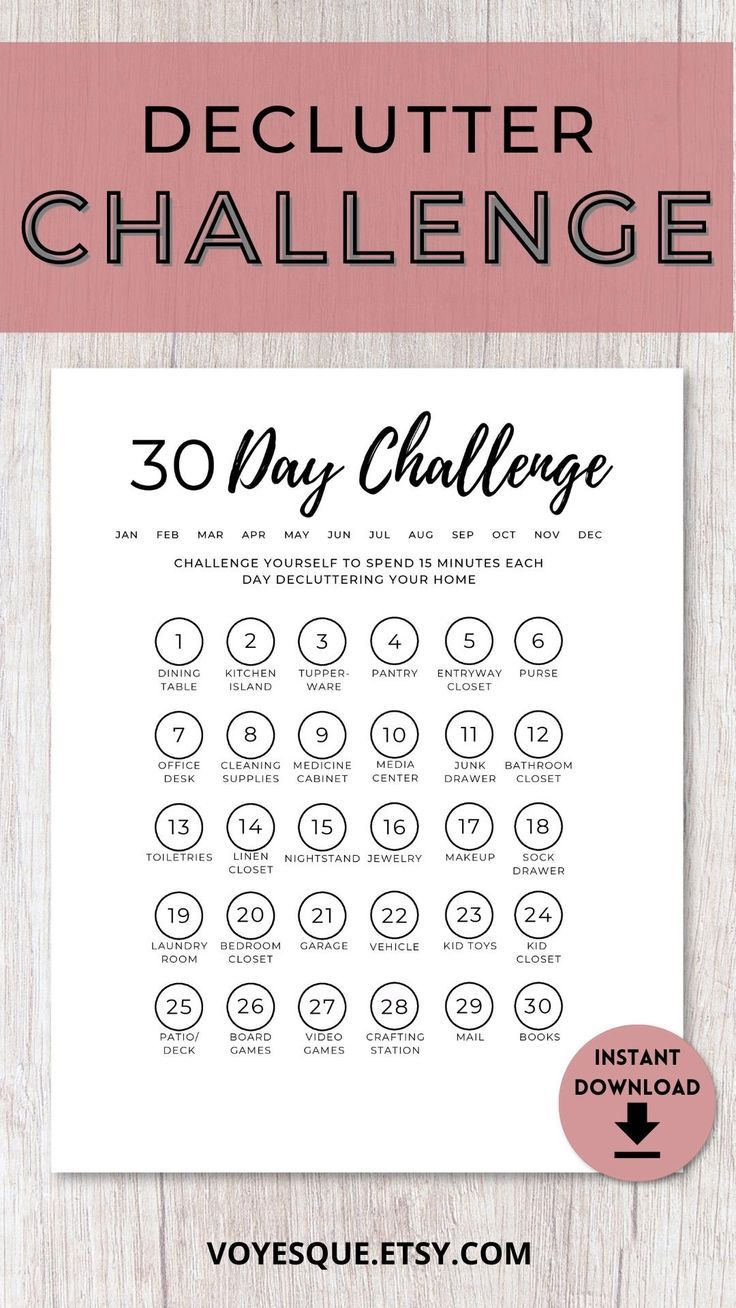 30 Day Declutter Challenge In 2021 | Planner Calendar for 30 Day Declutter Challenge Calendar