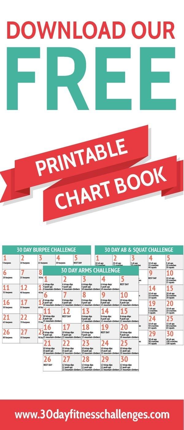 30 Day Fitness Challenges Printable Charts  Calendar regarding Printable 30 Day Calendar