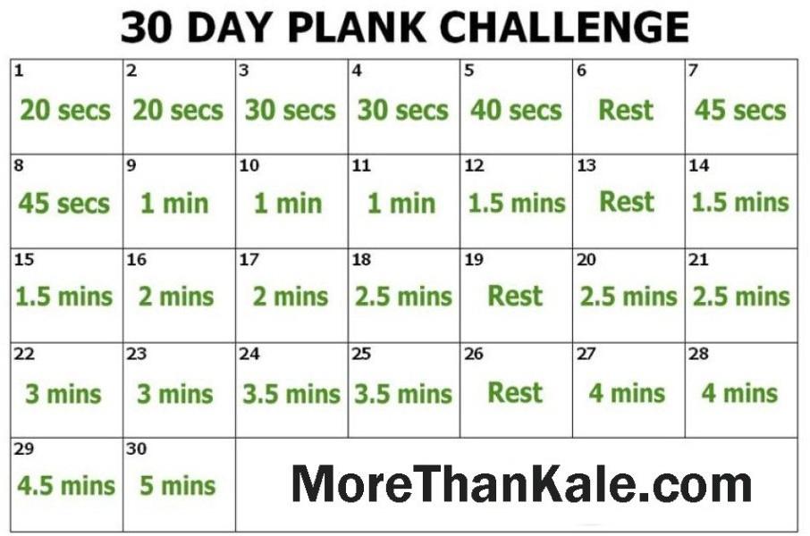 30 Day Plank Challenge Printable :Free Calendar Template with regard to Printable 30 Day Calendar