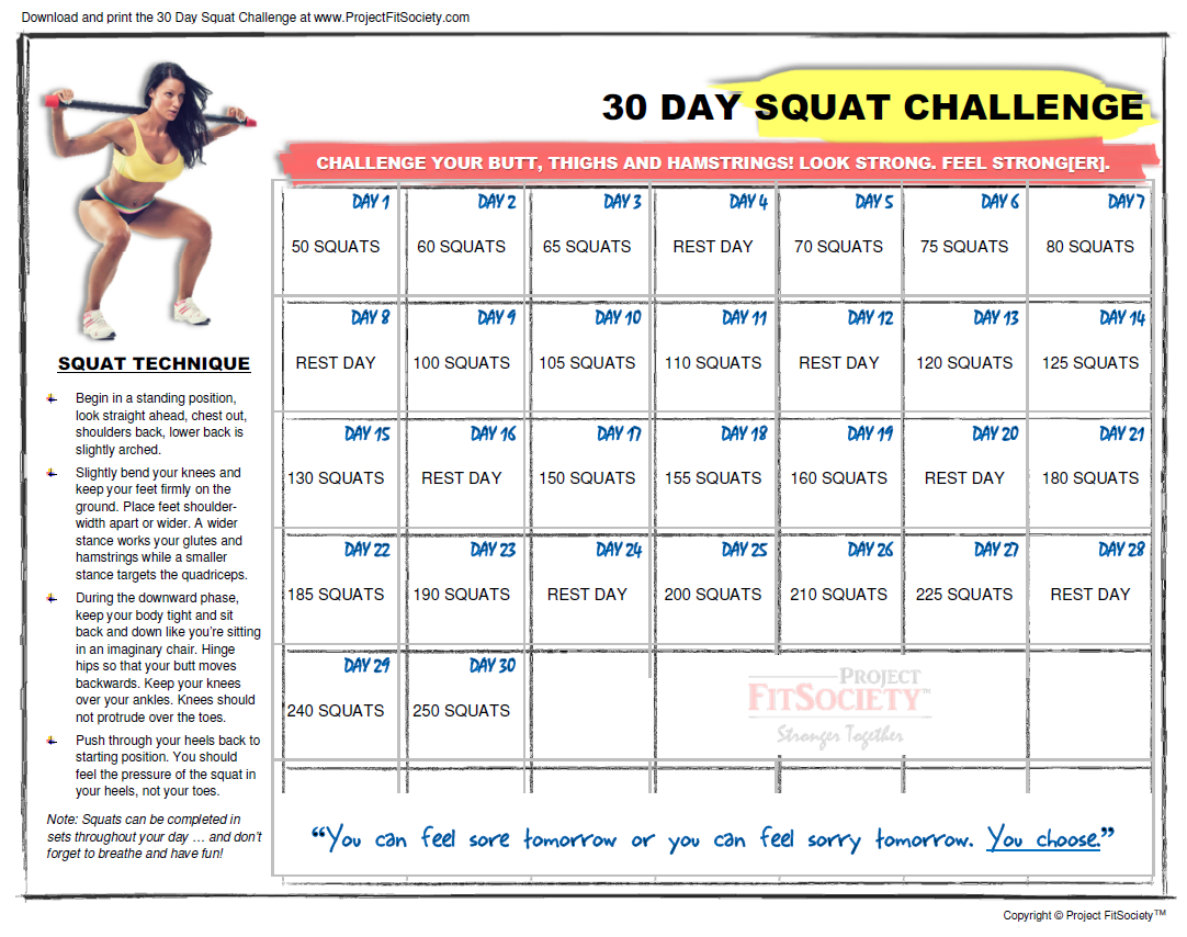 30 Day Squat Challenge Schedule Calendar | Printable intended for 30 Days Calendar Template