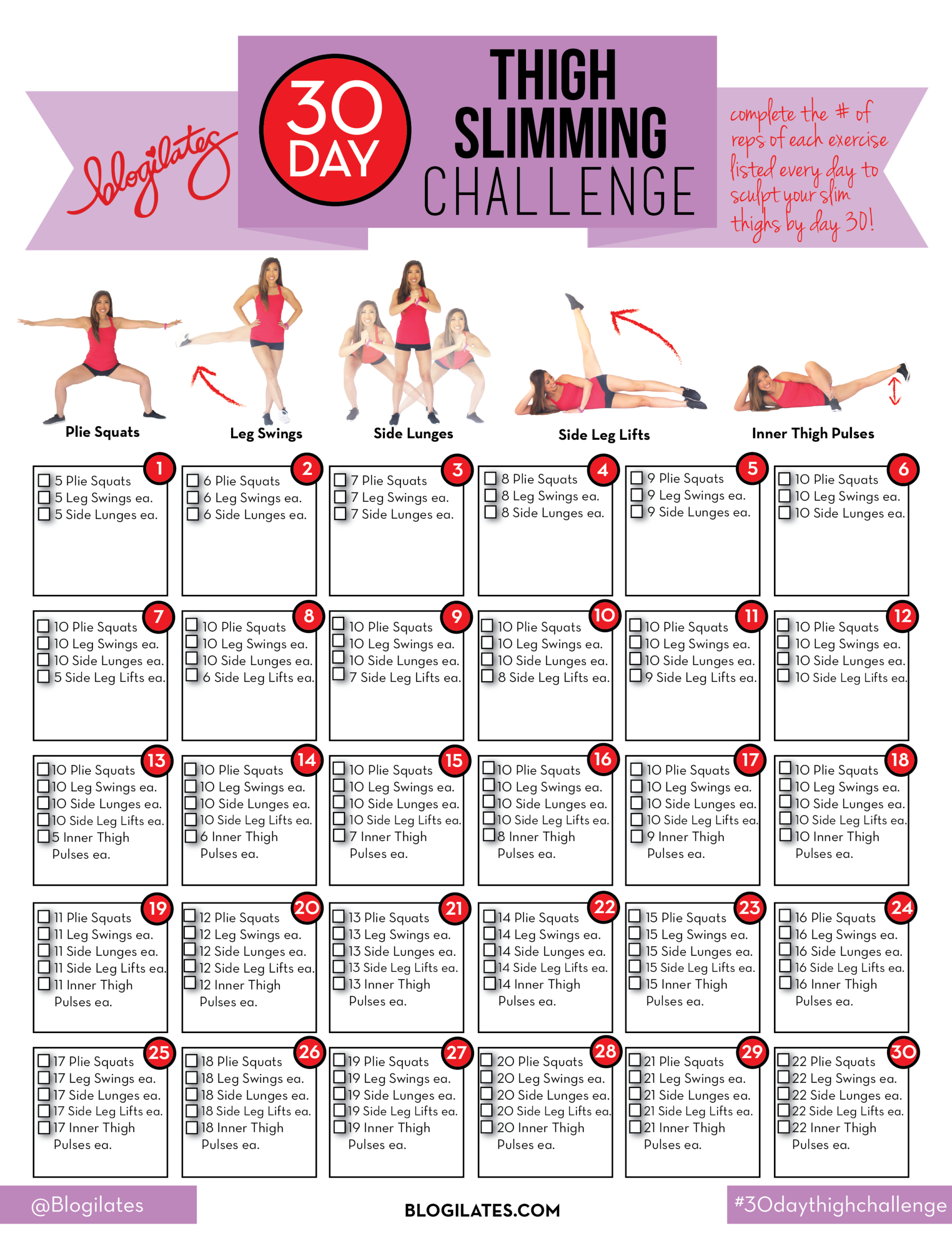 30 Day Thigh Slimming Challenge! pertaining to Blogilates September Calendar