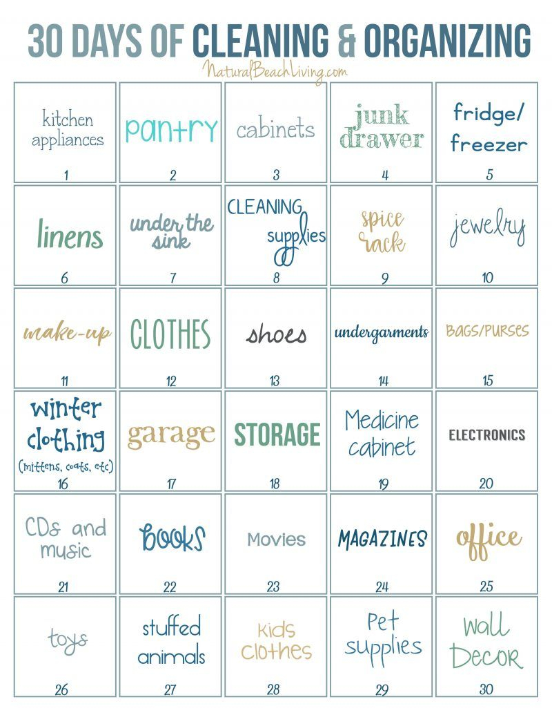30 Days Of Cleaning And Organizing Challenge  Printable pertaining to 30 Day Declutter Challenge Calendar